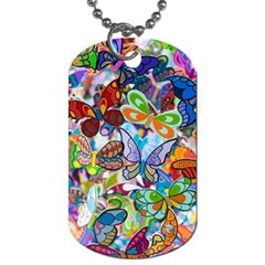 Color Butterfly Texture Dog Tag (One Side)