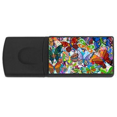 Color Butterfly Texture USB Flash Drive Rectangular (2 GB)