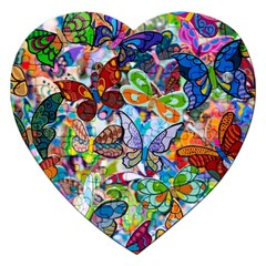 Color Butterfly Texture Jigsaw Puzzle (heart)
