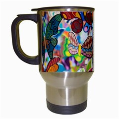 Color Butterfly Texture Travel Mugs (White)