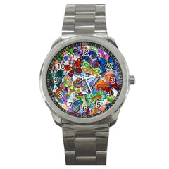 Color Butterfly Texture Sport Metal Watch