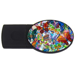 Color Butterfly Texture Usb Flash Drive Oval (4 Gb)