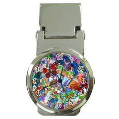 Color Butterfly Texture Money Clip Watches
