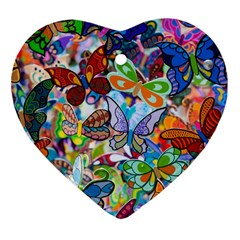 Color Butterfly Texture Heart Ornament (two Sides)