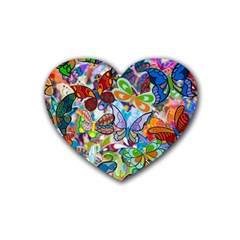Color Butterfly Texture Heart Coaster (4 pack)