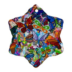 Color Butterfly Texture Snowflake Ornament (Two Sides)