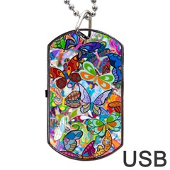Color Butterfly Texture Dog Tag USB Flash (One Side)