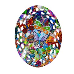 Color Butterfly Texture Oval Filigree Ornament (Two Sides)