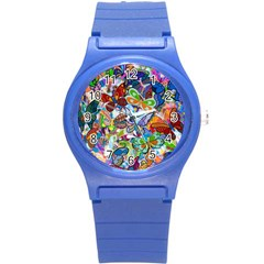 Color Butterfly Texture Round Plastic Sport Watch (S)