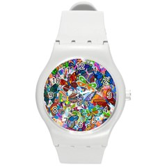 Color Butterfly Texture Round Plastic Sport Watch (M)