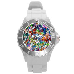 Color Butterfly Texture Round Plastic Sport Watch (L)