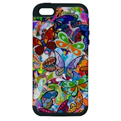 Color Butterfly Texture Apple iPhone 5 Hardshell Case (PC+Silicone)