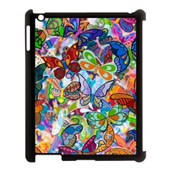 Color Butterfly Texture Apple iPad 3/4 Case (Black)