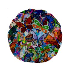 Color Butterfly Texture Standard 15  Premium Round Cushions