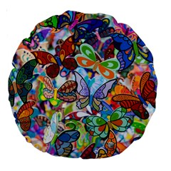 Color Butterfly Texture Large 18  Premium Round Cushions