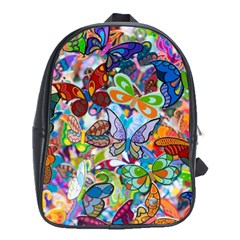 Color Butterfly Texture School Bags (XL)
