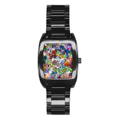 Color Butterfly Texture Stainless Steel Barrel Watch