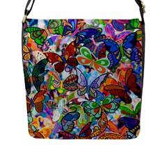 Color Butterfly Texture Flap Messenger Bag (L)