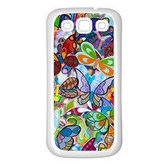 Color Butterfly Texture Samsung Galaxy S3 Back Case (White)