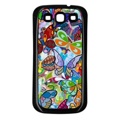 Color Butterfly Texture Samsung Galaxy S3 Back Case (Black)