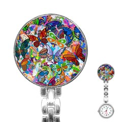 Color Butterfly Texture Stainless Steel Nurses Watch