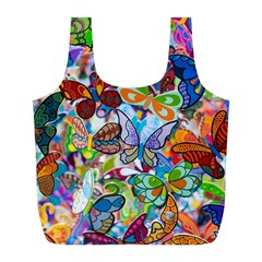 Color Butterfly Texture Full Print Recycle Bags (L)