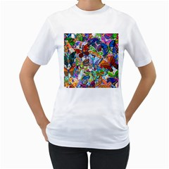 Color Butterfly Texture Women s T-Shirt (White)