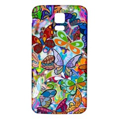 Color Butterfly Texture Samsung Galaxy S5 Back Case (White)