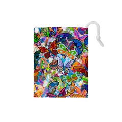 Color Butterfly Texture Drawstring Pouches (Small)