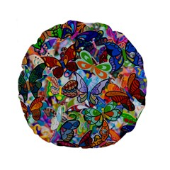 Color Butterfly Texture Standard 15  Premium Flano Round Cushions