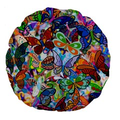 Color Butterfly Texture Large 18  Premium Flano Round Cushions