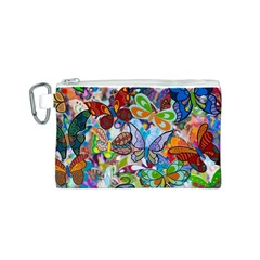 Color Butterfly Texture Canvas Cosmetic Bag (S)