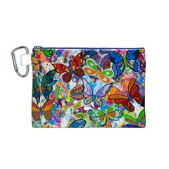Color Butterfly Texture Canvas Cosmetic Bag (M)