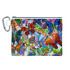 Color Butterfly Texture Canvas Cosmetic Bag (L)