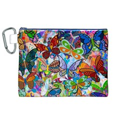 Color Butterfly Texture Canvas Cosmetic Bag (XL)