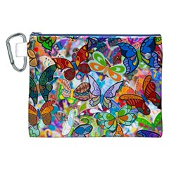 Color Butterfly Texture Canvas Cosmetic Bag (XXL)