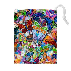 Color Butterfly Texture Drawstring Pouches (Extra Large)