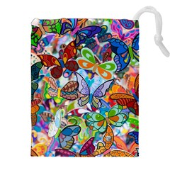 Color Butterfly Texture Drawstring Pouches (XXL)