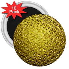 Patterns Gold Textures 3  Magnets (10 Pack)