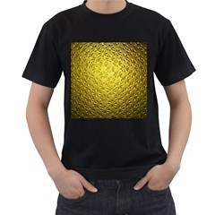 Patterns Gold Textures Men s T-Shirt (Black) (Two Sided)