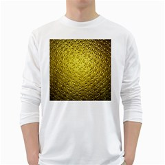 Patterns Gold Textures White Long Sleeve T Shirts