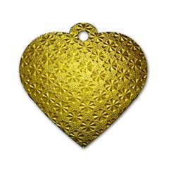 Patterns Gold Textures Dog Tag Heart (two Sides)