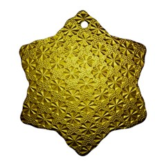 Patterns Gold Textures Snowflake Ornament (two Sides)