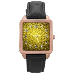 Patterns Gold Textures Rose Gold Leather Watch