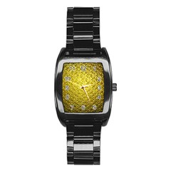 Patterns Gold Textures Stainless Steel Barrel Watch