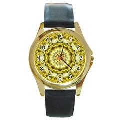 Fractal Flower Round Gold Metal Watch