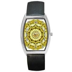 Fractal Flower Barrel Style Metal Watch