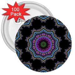 Fractal Lace 3  Buttons (100 Pack)
