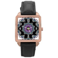 Fractal Lace Rose Gold Leather Watch
