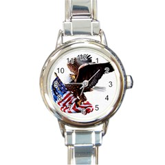 Independence Day United States Round Italian Charm Watch